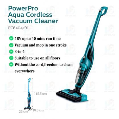 Philips PowerPro Aqua 3-In-1 Rechargeable Cordless Vacuum Cleaner And Mopping System (FC6404)