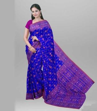 Blue Curving Work Jamdani Design Tangail Saree - SSE09