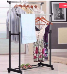 Double Pole Cloth Rack - Stainless Steel