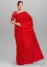 Red Curving Work Jamdani Design Tangail Saree - SSE03