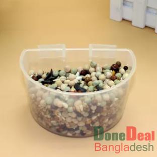 5pcs/lot Parrot Bird Feeder Hamster Flat Bottom Feeding Cup Hanging Drinking Food Bowl Birds Supplies