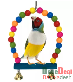 Bird swing toy Natural Wooden Parrots Swing Toy Birds Perch Hanging Swings Cage
