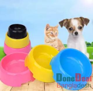 Plastic Pet Bowl Candy Color Dog Bowls Round Single Bowl Cat Dog Bowl Food Bowls