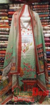 Shamu Silk Unstitched 3 Pieces Dress Set - MK37