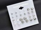 12 Pair Earrings Set for Women - Silver