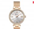 CURREN 9011 Mesh Stainless Steel Watch for Women – Rose White