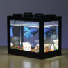 Lovely· Mini LED Lighting Clear Fish Tank Ornament Aquarium Office Desktop Decor BLACK