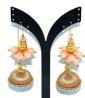 Peach & Off White Pearl Work Earring - TR 807