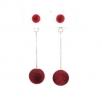 Red Color Pom Pom Long Earring – HT201