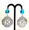 Silver Earring with Sky Color Stone - TR668