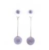 White Color Pom Pom Long Earring – HT197