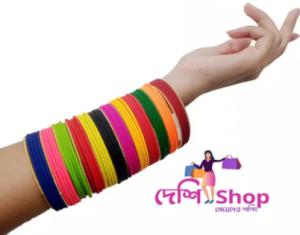 61 piece metal multicolor reshmi bangle Churi bracelets for women and girls fashion