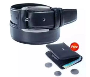 Chocolate Artificial Leather Belt And Artificial Leather Wallet For Men