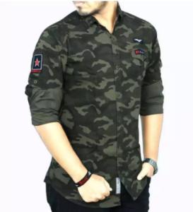 Green Long Sleeve Casual Shirt For Men