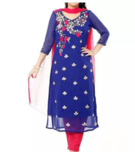 Indian Unstitched Georgette/Jorjet Salwar Kamiz Three Piece For Women Dresses ( 3 piece )