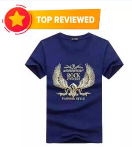 Navy blue Cotton T Shirt For Men