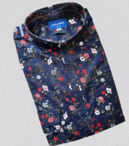 Navy Blue Printed Cotton Long Sleeve Casual Shirt for Men
