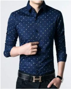 Stylish & Fashionable Blue Cotton Long Sleeve Polka Shirt for Men