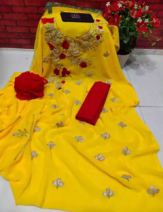 Unstitched Yellow Color Georgette Embrodury Kameez For Women Three Piece (3 Piece)
