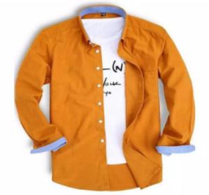 Yellow Cotton Long Sleeve Casual Shirt For Men