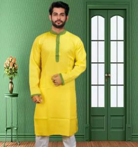 Yellow Stylish and Exclusive Design Semi Long Panjabi for Men
